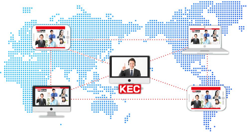 世界でオンライン受講を行う図