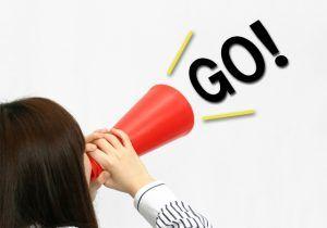 """成功へのキーワード""""Go""""を叫ぶ女性"""